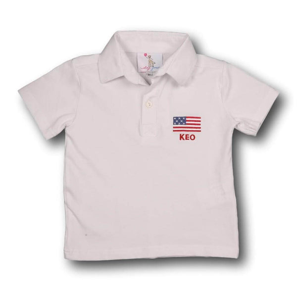 Embroidered American Flag Knit Polo