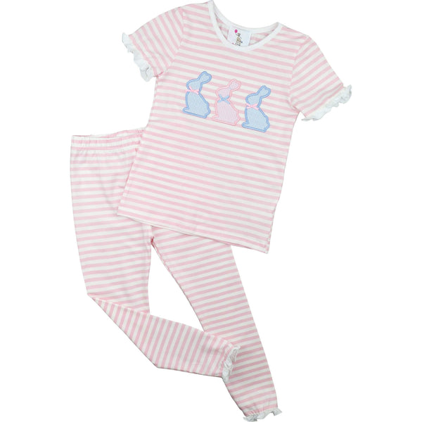 Pink Mini Stripe Knit Applique Bunnies Pajamas