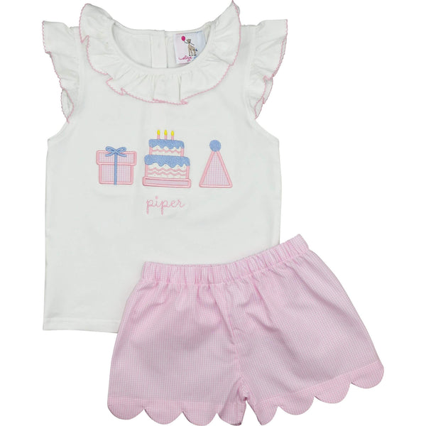 Pink Gingham Scalloped Birthday Short Set