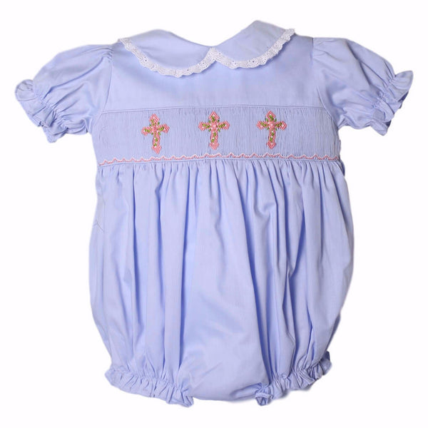Blue Pique Smocked Cross Bubble