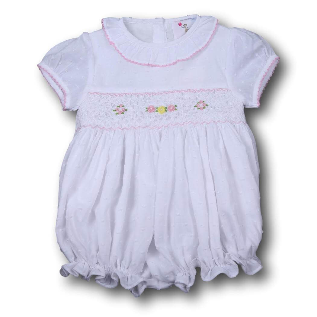 Girls Bubble - White swiss dot embroidered flower smocked bubble