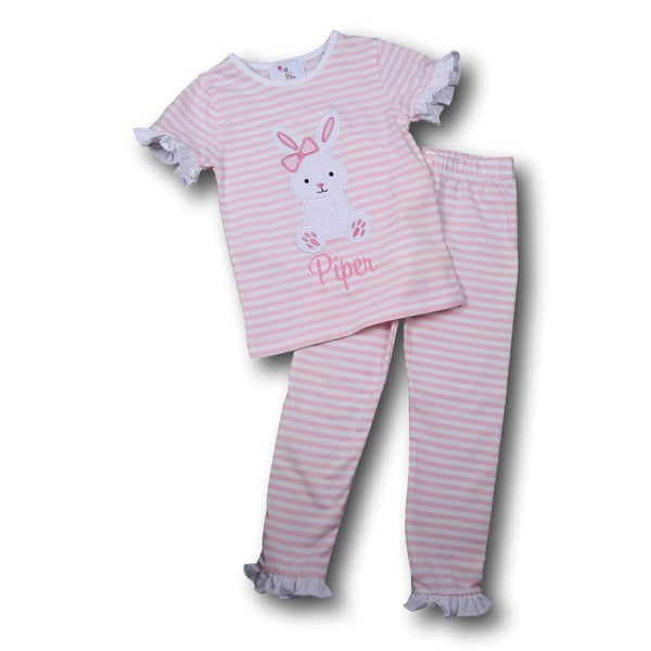 Girls Pajamas - Pink and white knit mini stripe bunny pjs