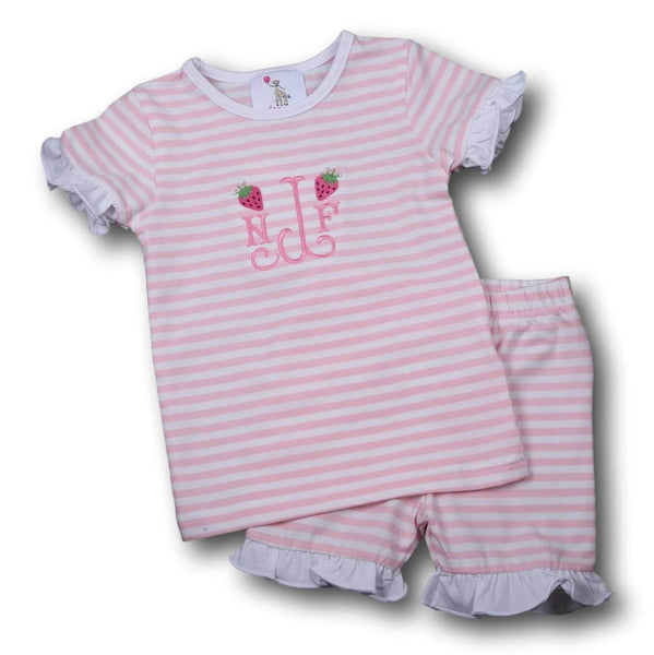 Girls Pajamas - Pink knit mini stripe pj set