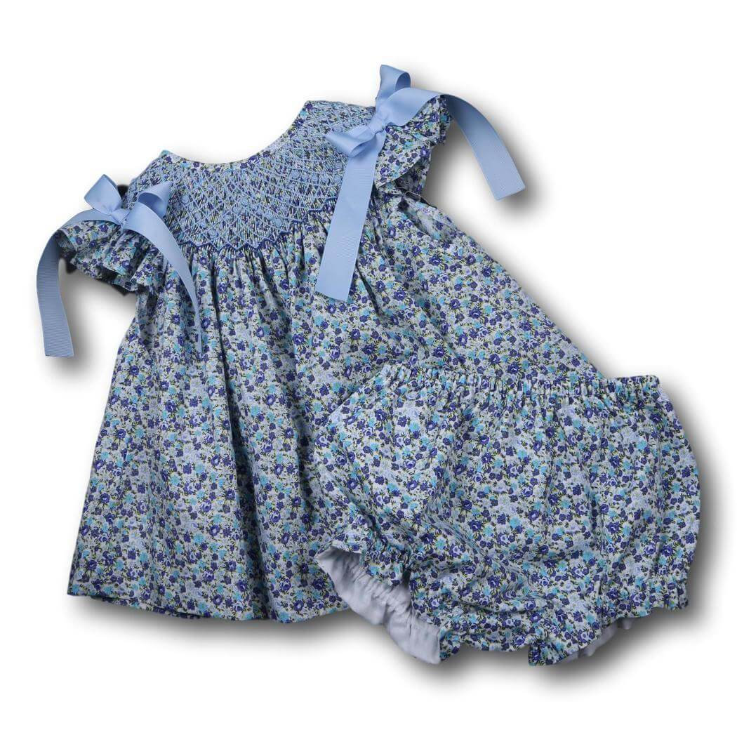 Girls Sets - Girls Diaper Set - Blue liberty geometric smocked diaper set