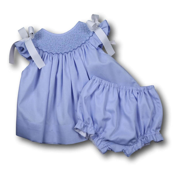 Girls Sets - Girls Diaper Set - Blue pique smocked geometric diaper set