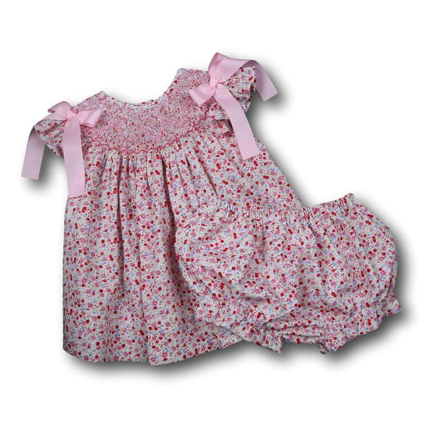 Girls Sets - Girls Diaper Set - Pink liberty smocked geometric diaper set