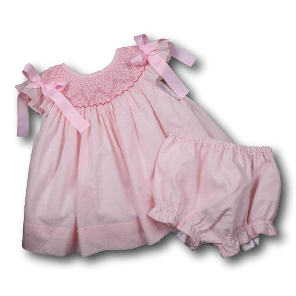 Girls Sets - Girls Diaper Set - Pink pique smocked geometric diaper set