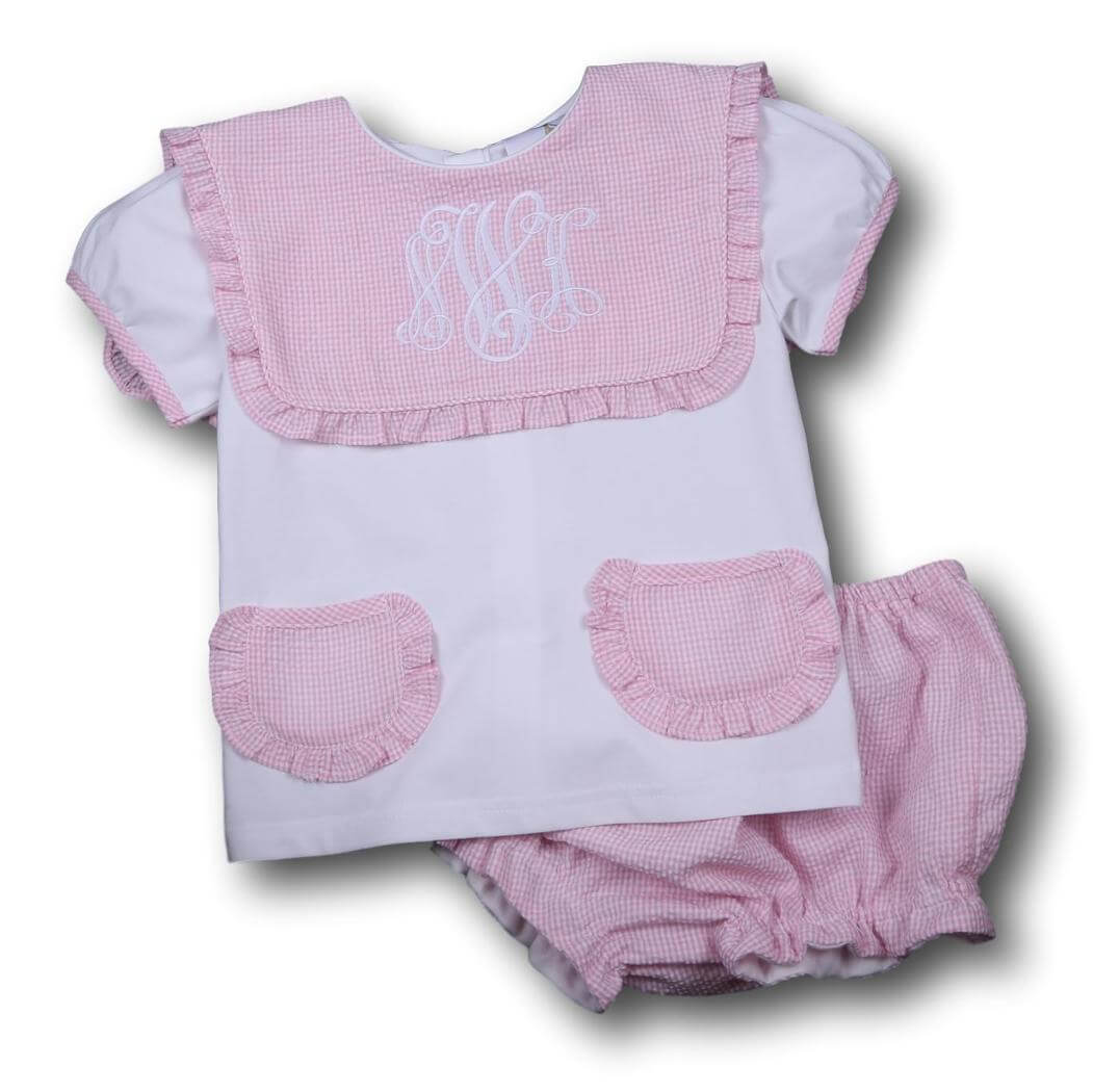 Girls Sets - Girls Diaper Set - Pink seersucker pocket diaper set