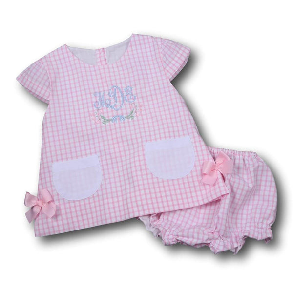 Girls Sets - Girls Diaper Set - Pink windowpane pocket diaper set