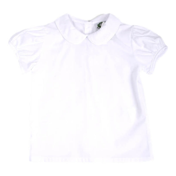 Girls White Pique Peterpan Collar Shirt