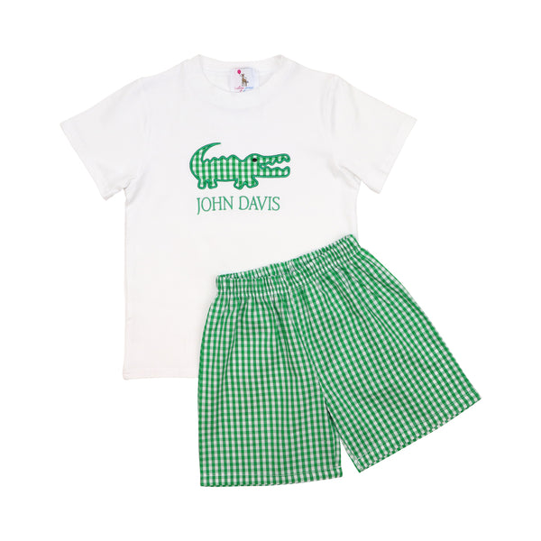Green Check Applique Alligator Short Set