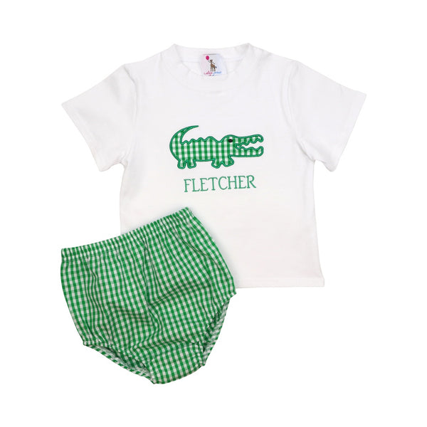 Green Check Applique Alligator Diaper Set