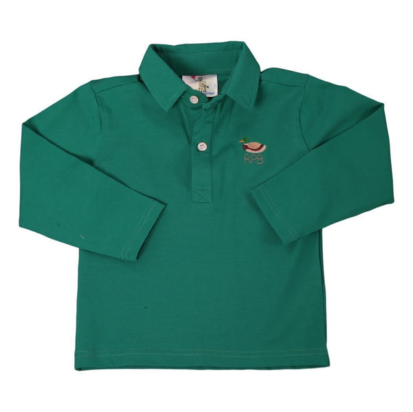 Green Embroidered Knit Mallard Polo