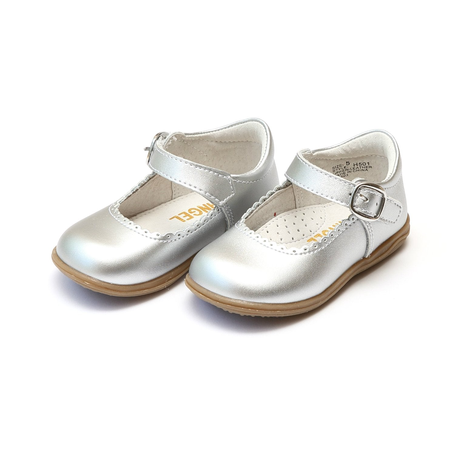 Angel Silver Scalloped Shoes with Velcro Under Buckle Strap