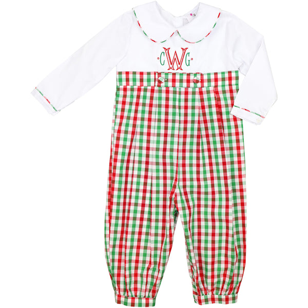 Holiday Check Long Romper