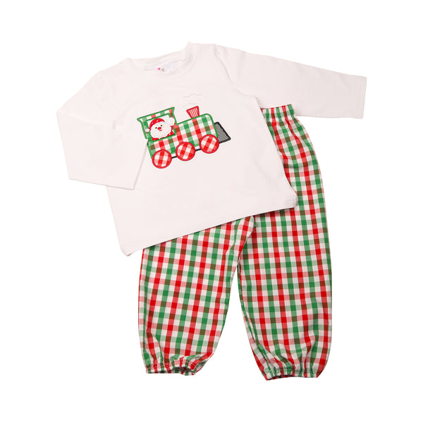 Holiday Check Applique Christmas Train Pant Set