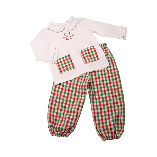 Holiday Check Pant Set with Pockets