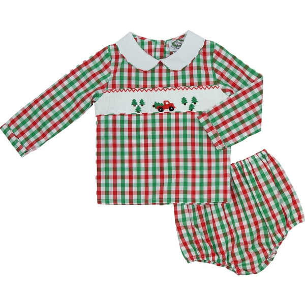 Holiday Check Smocked Truck Diaper Set