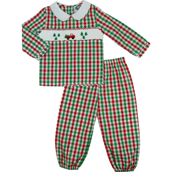 Holiday Check Smocked Truck Pant Set