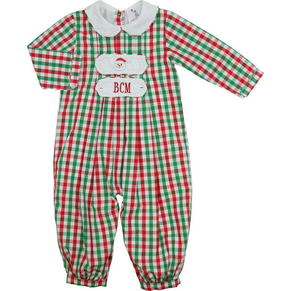 Holiday Check Tab Long Romper (Tabs Included)