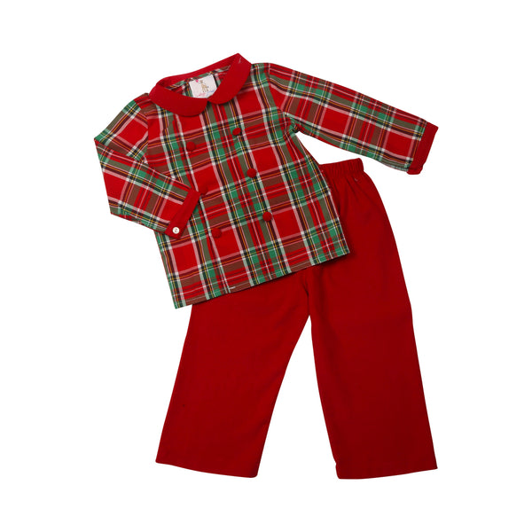 Holiday Plaid Cord Pant Set