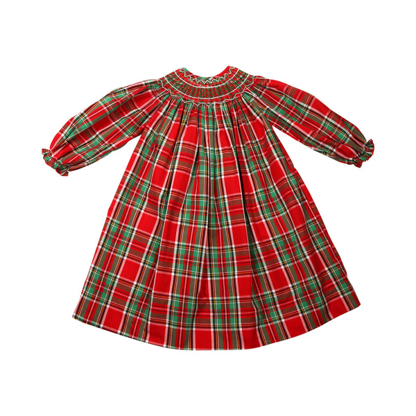 Holiday Plaid Smocked Bishop Dress