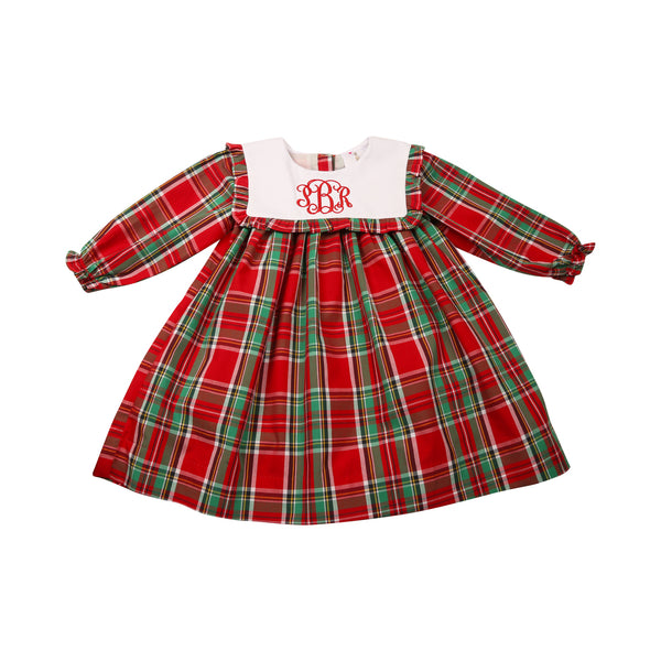 Holiday Plaid Square Collar Dress
