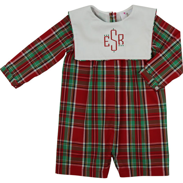 Holiday Plaid Square Collar Short Romper
