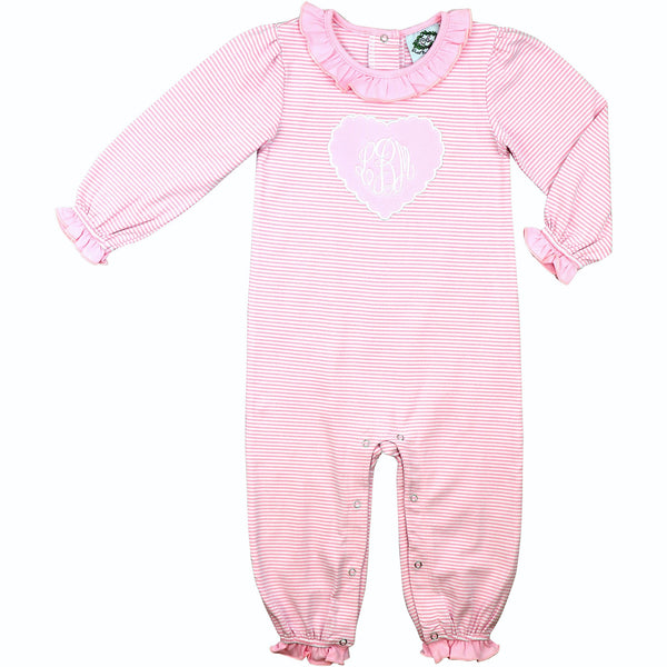 Pink Mini Stripe Knit Scalloped Heart Long Bubble