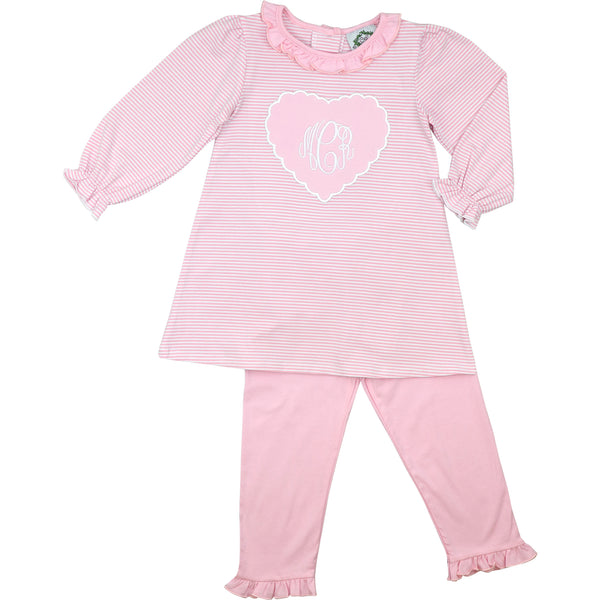 Pink Stripe Knit Scalloped Heart Legging Set