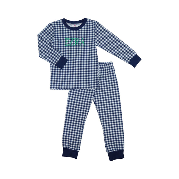 Navy Knit Check PJ Set
