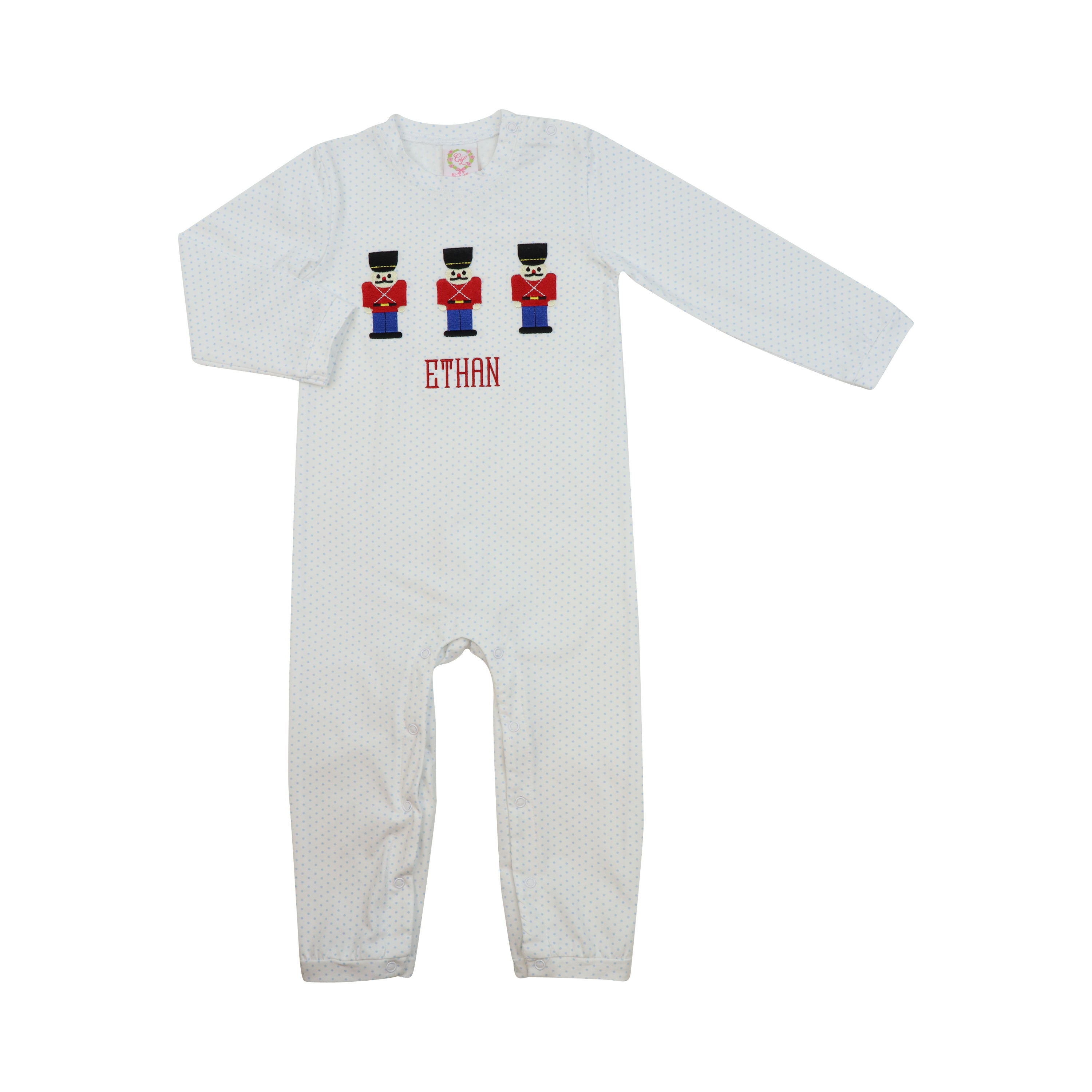 Blue Knit Dot Embroidered Toy Soldier Long Romper