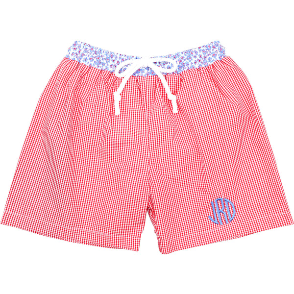 Red Gingham And Blue Liberty Swim Trunks