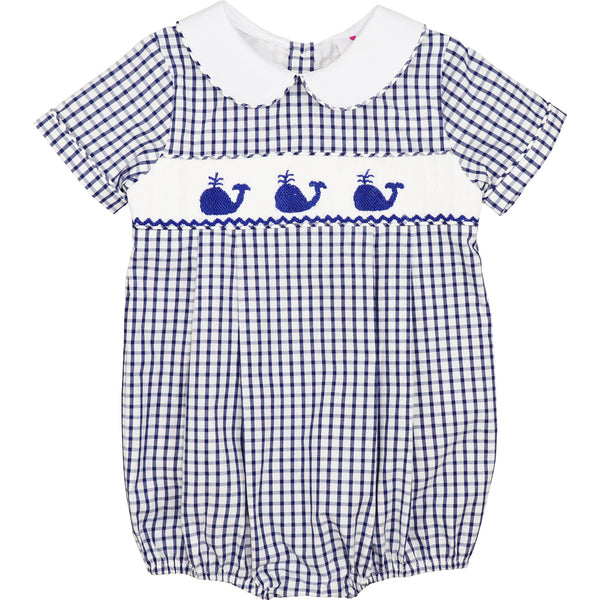 Navy Windowpane Smocked Whale Bubble