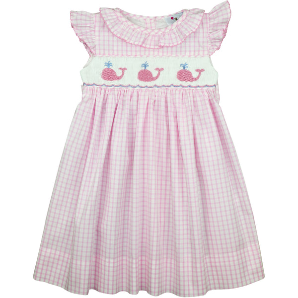 Pink Windowpane Smocked Whale Dress