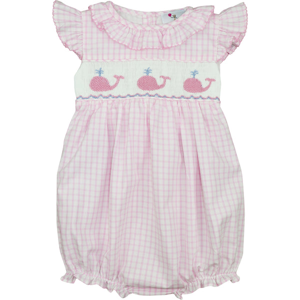 Pink Windowpane Smocked Whale Bubble