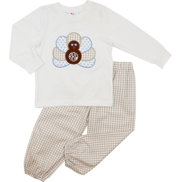 Khaki Windowpane Turkey Pant Set