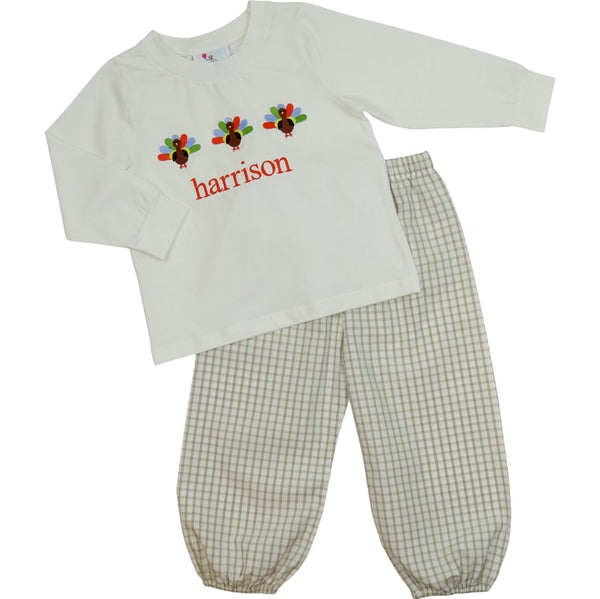 Khaki Windowpane Embroidered Turkey Pant Set