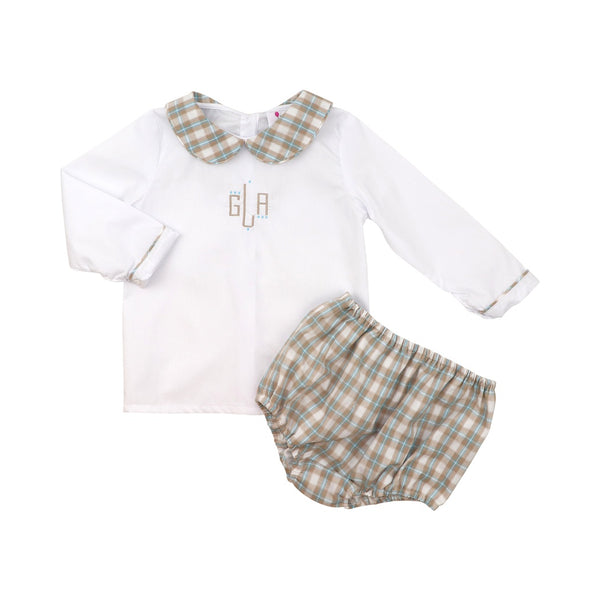 Khaki and Blue Plaid Diaper Set