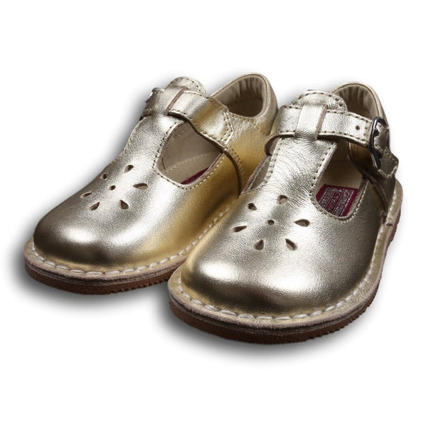 L'Amour Gold Leather T-Strap Shoes