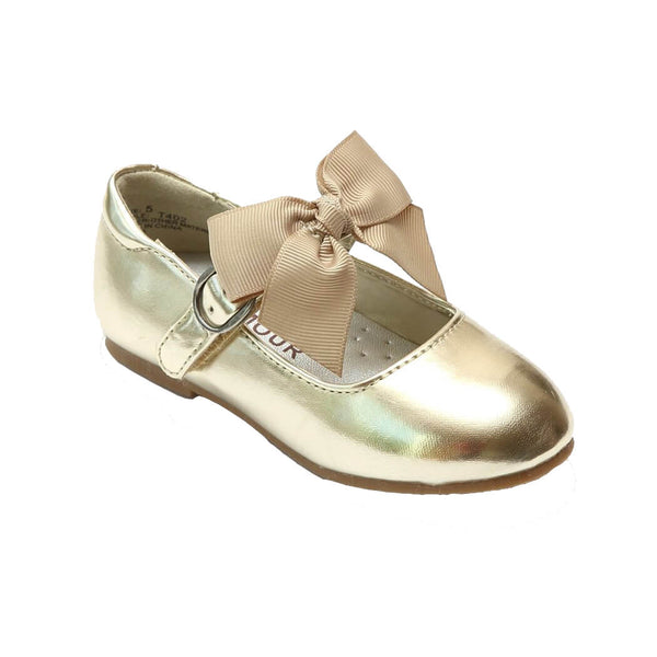 L'Amour Gold Shoes with Bow