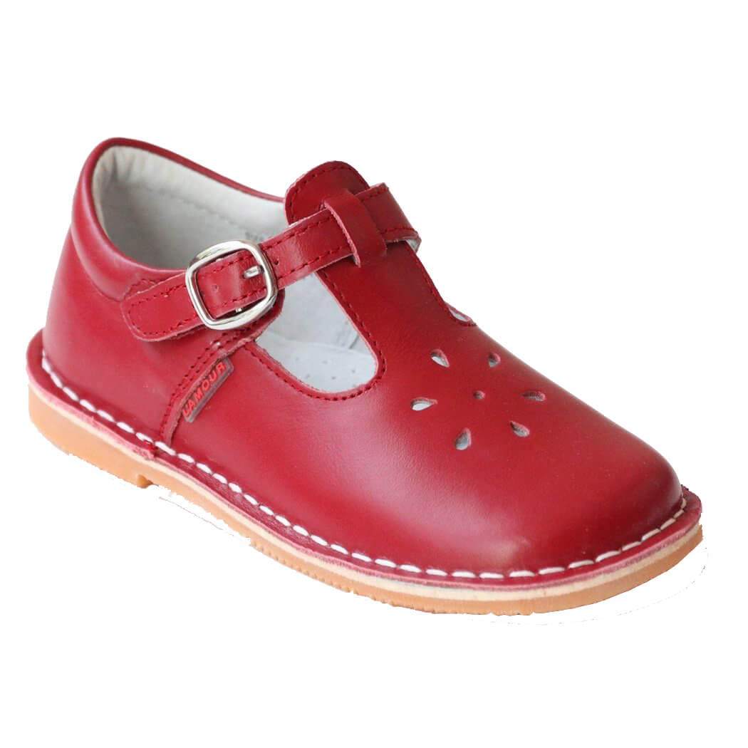 L'Amour Red Leather T-Strap Shoes