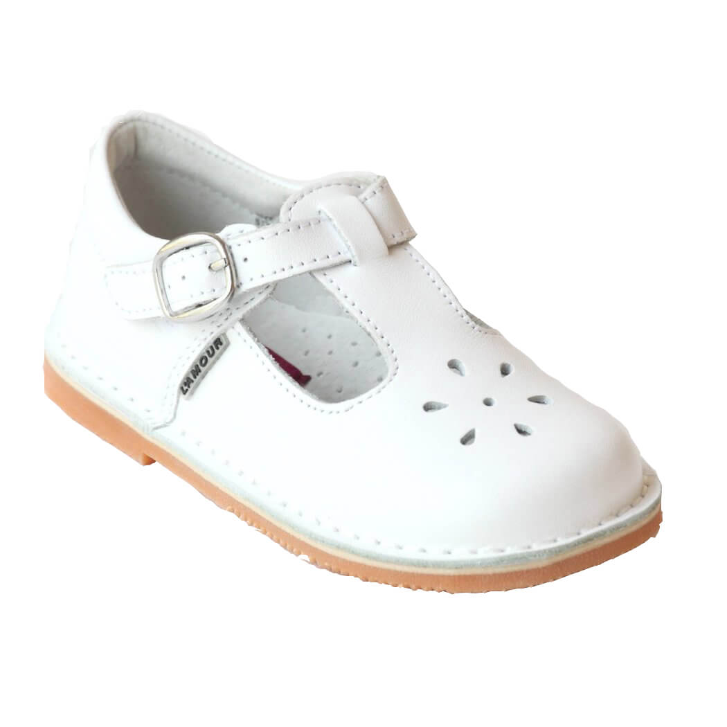 L'Amour White Leather T-Strap Shoes