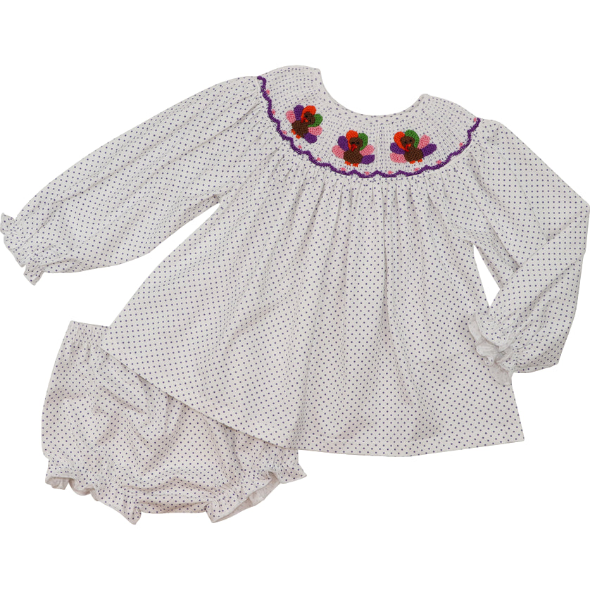 Lavender Dot Smocked Turkey Diaper Set