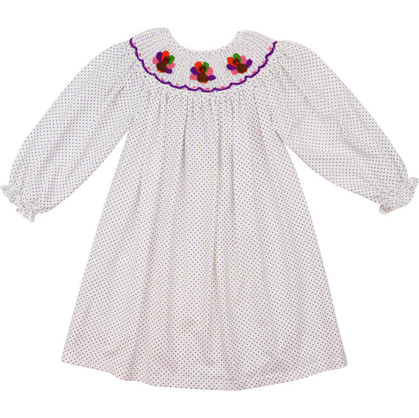Lavender Dot Smocked Turkey Dress