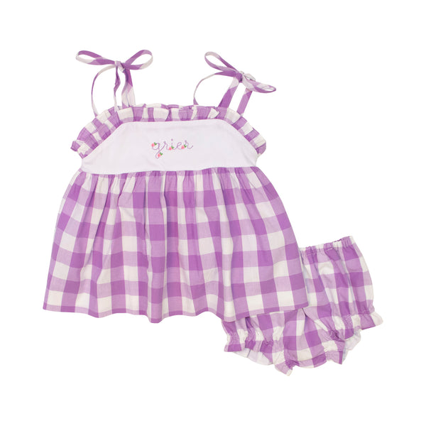 Lavender Check Shoulder Tie Diaper Set
