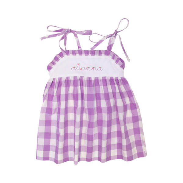 Lavender Check Shoulder Tie Dress