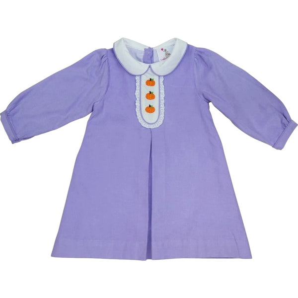 Lavender Cord Pumpkin Embroidered Dress