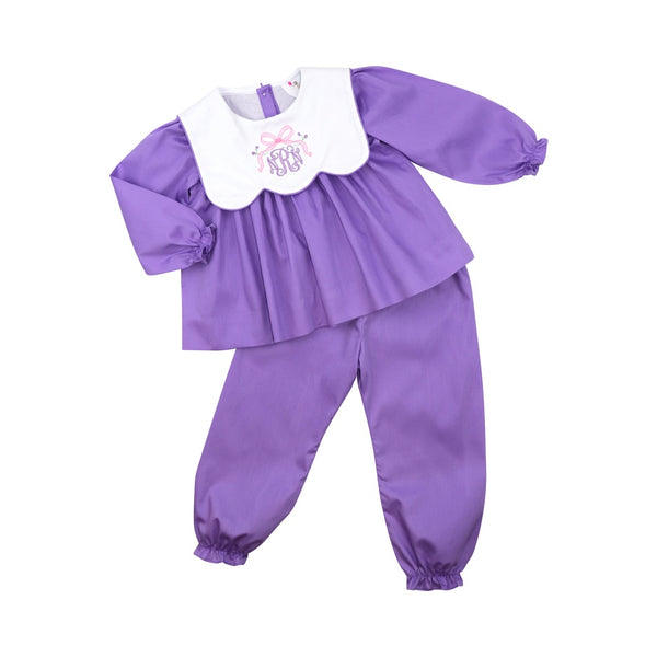 Lavender Pique Scalloped Collar Pant Set