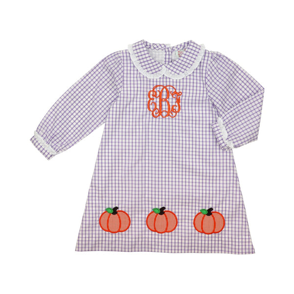 Lavender Windowpane Appliqué Pumpkin Dress